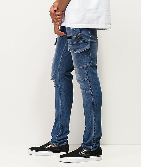 Ninth Hall Decoy Warp Dark Blue Cargo Skinny Jeans