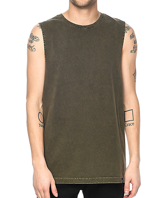 Ninth Hall Ellipse Distressed Olive Tank Top