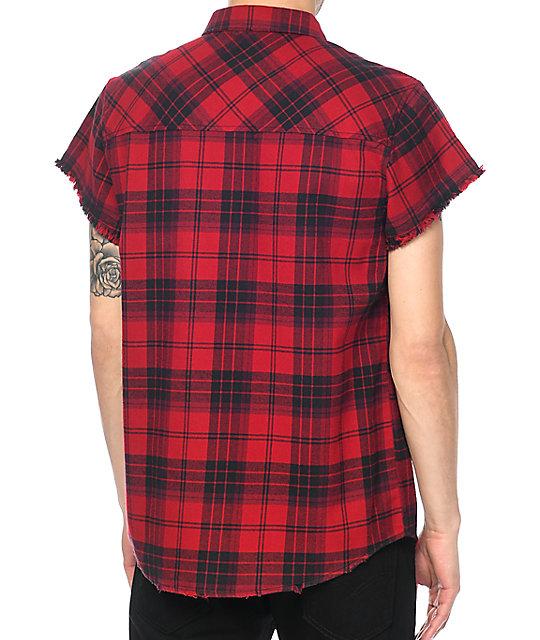 Ninth Hall Enzo Red Black Destroyed Short Sleeve Flannel Shirt