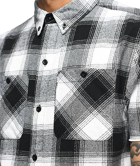 9b72287c632cf ... Ninth Hall Enzo White   Black Dip Dye Short Sleeve Flannel Shirt ...