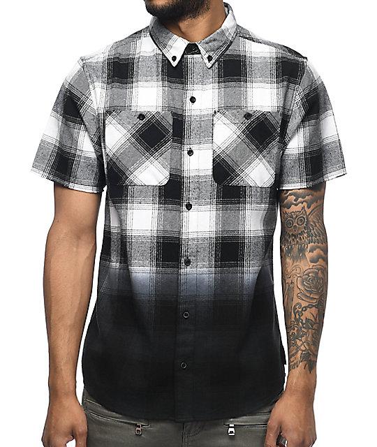 Ninth Hall Enzo White Black Dip Dye Short Sleeve Flannel Shirt