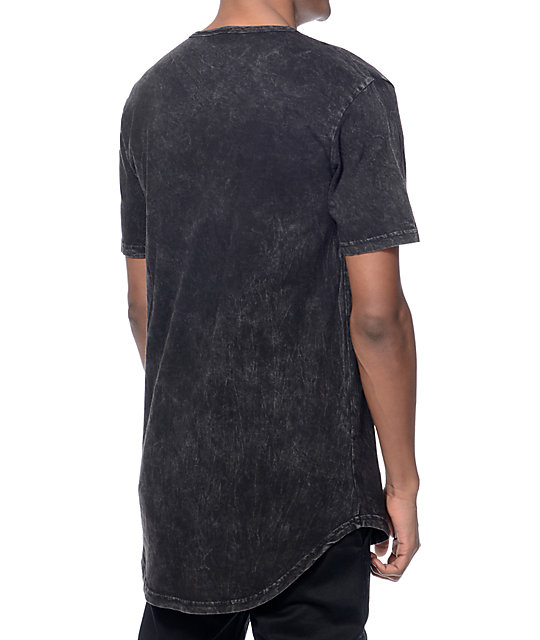 Ninth Hall High Rise Black Wash Curved Long T-Shirt