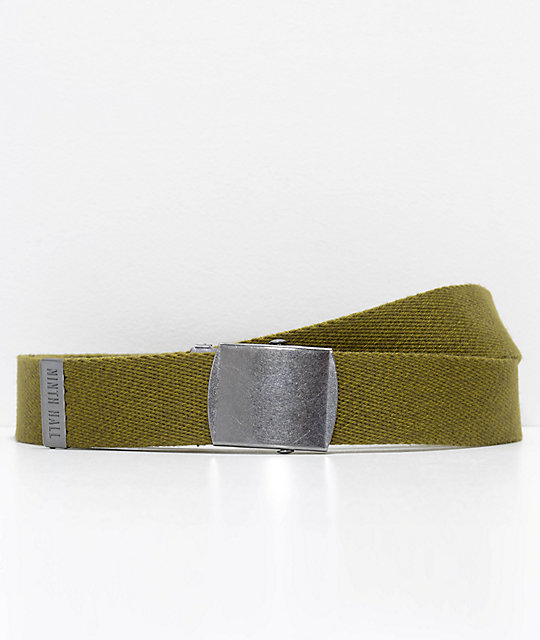 Ninth Hall Marshall Olive Long Web Belt