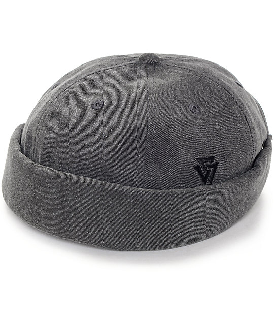 6b97656bc36 Ninth Hall Melton Charcoal Wool Brimless Hat