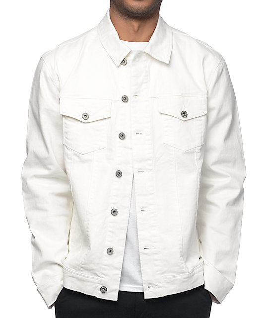 huge discount on feet shots of classic styles Ninth Hall Painted Off-White Denim Jacket | Zumiez
