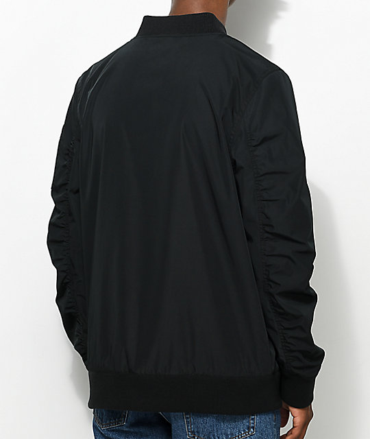 Ninth Hall Privation No Fill Black Bomber Jacket