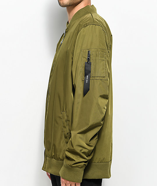 Ninth Hall Privation No Fill Olive Bomber Jacket