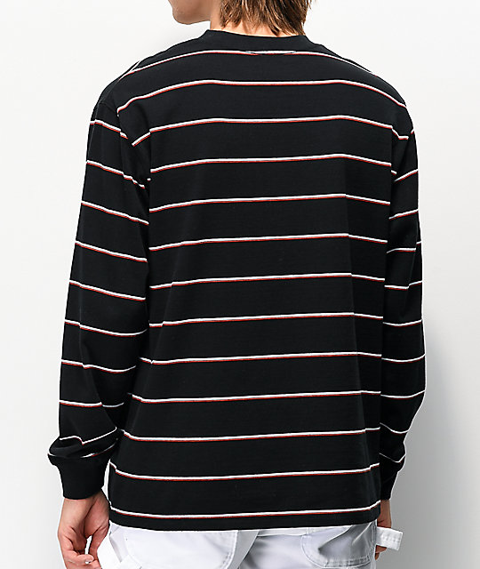 Ninth Hall Replay Black, White and Red Stripe Long Sleeve T-Shirt
