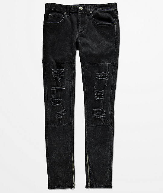 Ninth Hall Rogue Crow skinny jeans rotos en negro