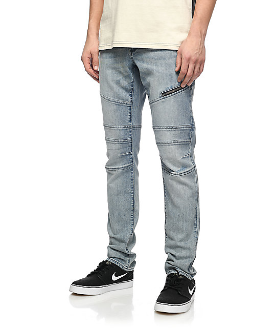 Ninth Hall Rogue Moto Knee Heron Light Blue Denim Jeans