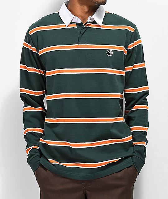 Ninth Hall Ruggers Gray & Orange Long Sleeve Polo Shirt