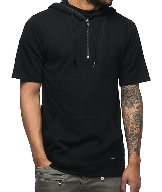 900a4aa23 Ninth Hall Statue Quarter Zip Black Short Sleeve Hoodie | Zumiez
