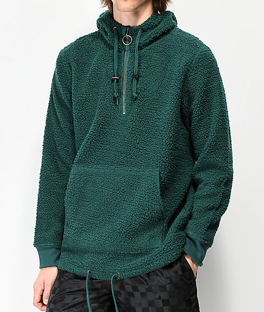 Ninth Hall Summit Green Sherpa Half Zip Sweatshirt by Ninth Hall