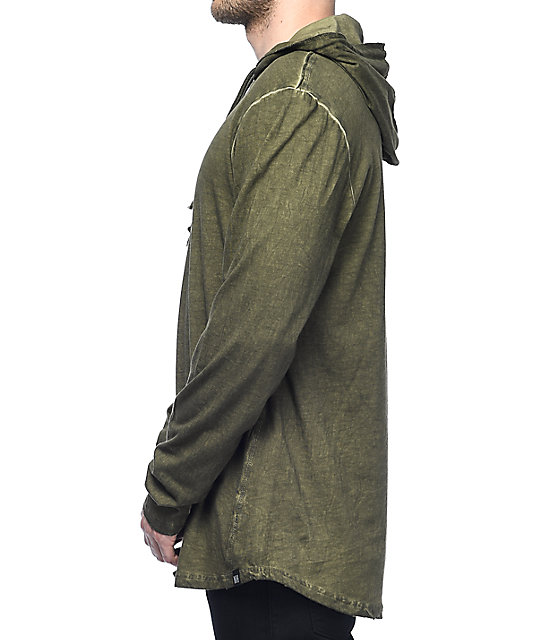 Ninth Hall Surface Olive Green Slub Hoodie