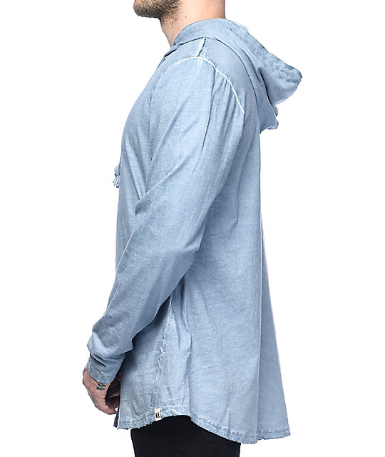 Ninth Hall Surface Slate Blue Slub Hoodie