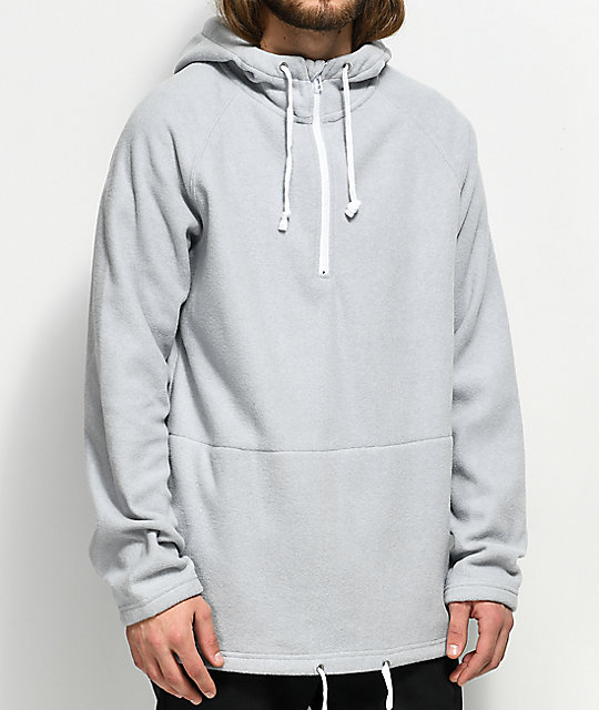 Ninth Hall Temps Half Zip Up sudadera gris con capucha