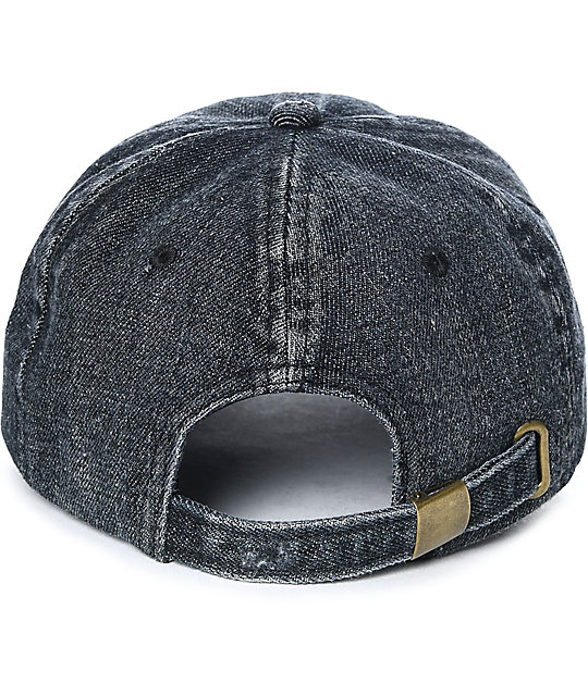 Ninth Hall Trifecta Black Washed Strapback Hat