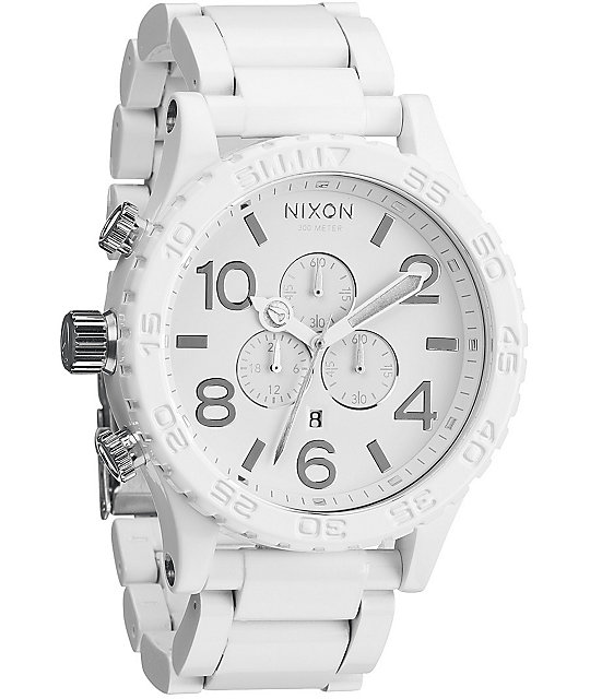 Nixon 51-30 All White & Silver Chronograph Watch