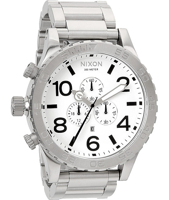 Nixon 51-30 Brushed Chrome & White Chronograph Watch