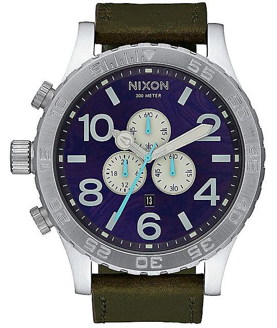 Watch Links Nixon Purple: Nixon 51-30 Chrono Leather Purple & Olive Analog Watch