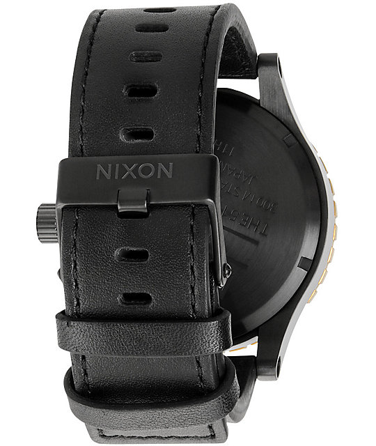 Nixon 51-30 Leather Black & Raw Gold Chronograph Watch