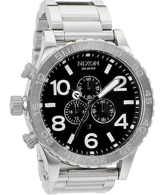 Nixon 51-30 Polish Chrome & Black Chronograph Watch