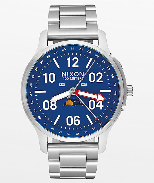 Nixon Ascender Silver & Blue Analog Watch