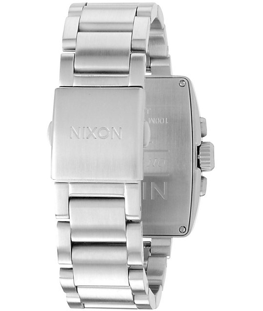 Nixon Axis Silver & Black Chronograph Watch
