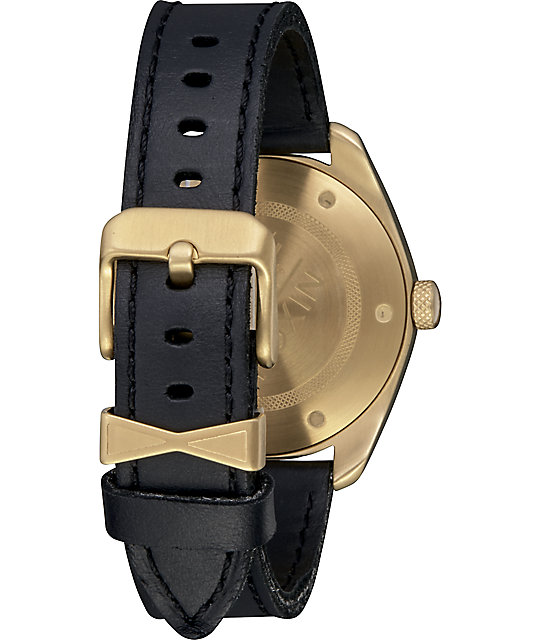 Nixon Bullet Leather reloj análogo en negro y color oro