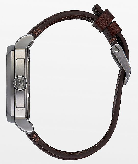 Nixon Charger Leather Blue, Silver & Brown Analog Watch