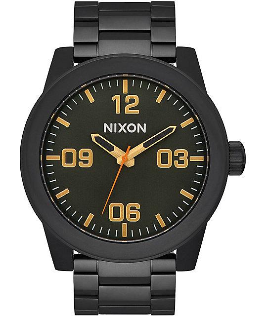 e50d9944a84 nixon-corporal-all-black-surplus-analog-watch by nixon-