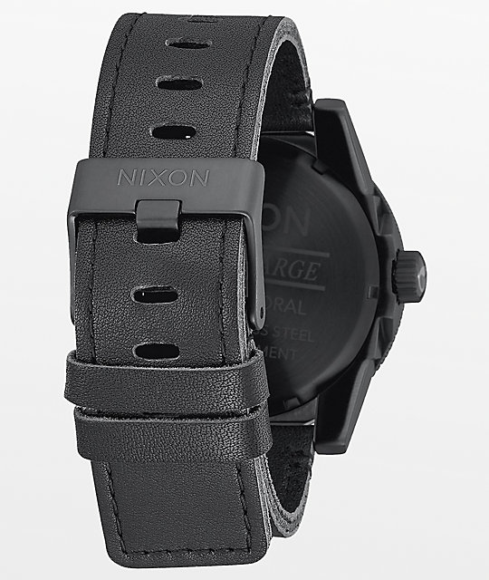 Nixon Corporal Leather All Black Analog Watch