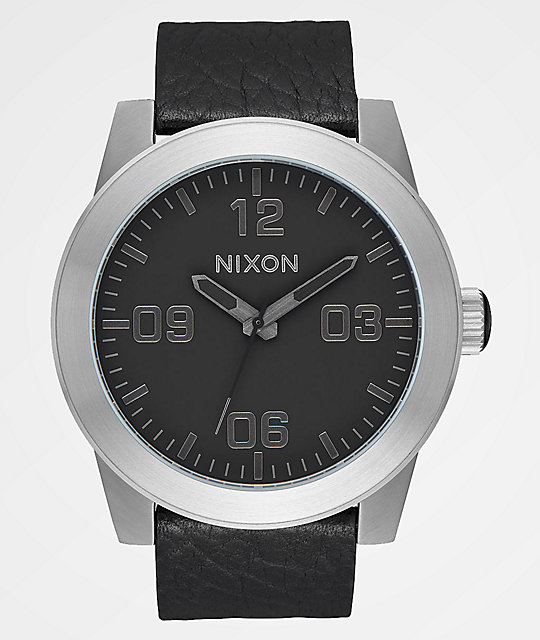 Nixon Corporal Leather Black, Gunmetal & Black Watch