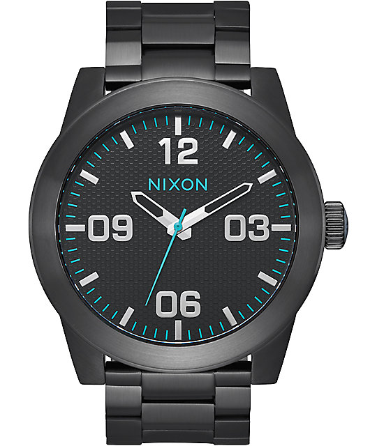 Nixon Corporal SS All Black & Blue Analog Watch