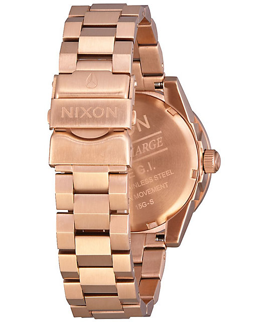 Nixon G.I. SS Rose Gold & Green Analog Watch