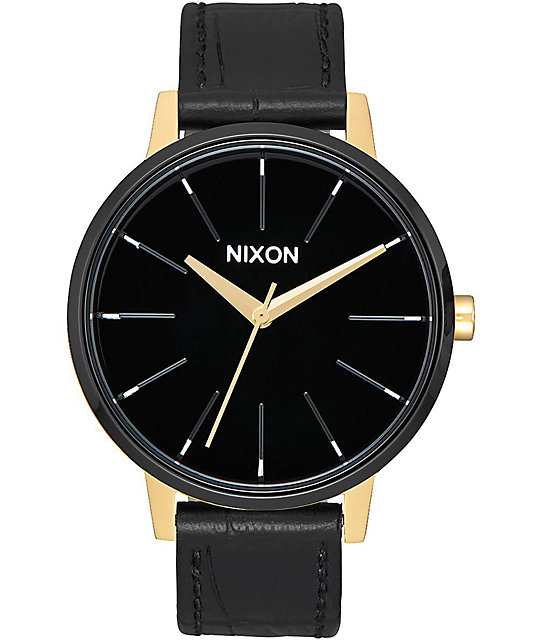 Nixon Kensington Leather Gold, Black & White Watch