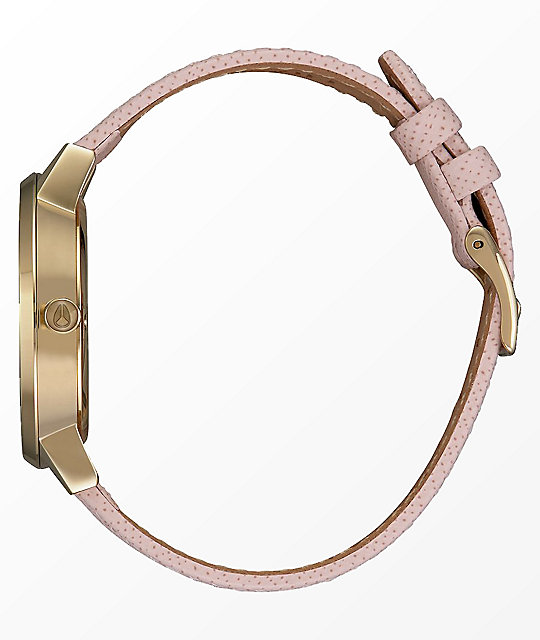 Nixon Kensington Leather Light Gold & Pink Analog Watch
