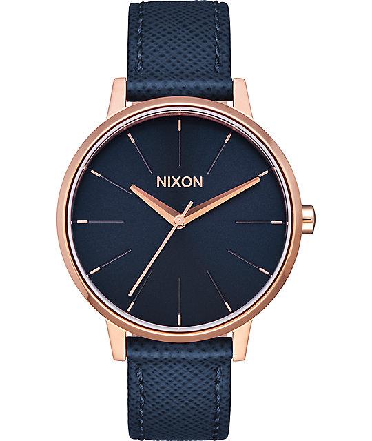 f78c7848f Nixon Kensington Leather Navy & Rose Gold Watch | Zumiez.ca