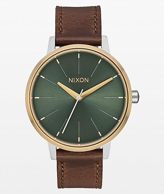 Nixon Kensington Leather Silver, Gold & Agave Analog Watch