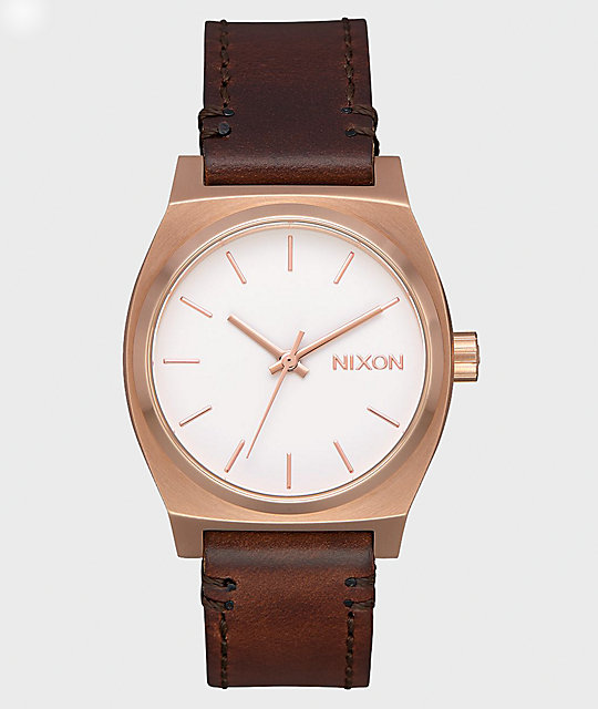 Nixon Medium Time Teller Leather Rose Gold, White & Brown Watch