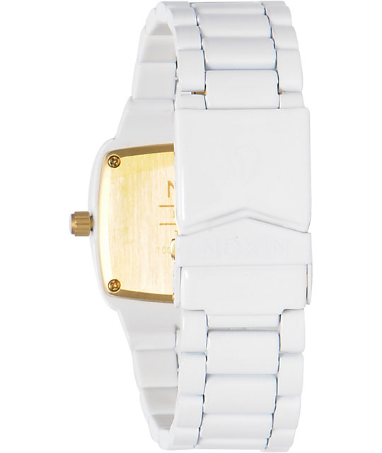 Nixon Player White & Gold Analog Watch