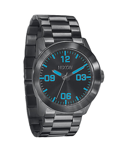 Nixon Private SS Gunmetal & Blue Analog Watch