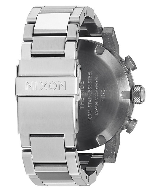Nixon Ride SS White & Chrome Chronograph Watch