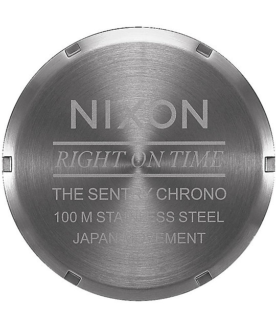Nixon Sentry 42 Leather Bronze & Gunmetal Chronograph Watch