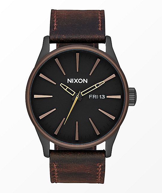 Nixon Sentry Leather Black, Brown & Brass Analog Watch