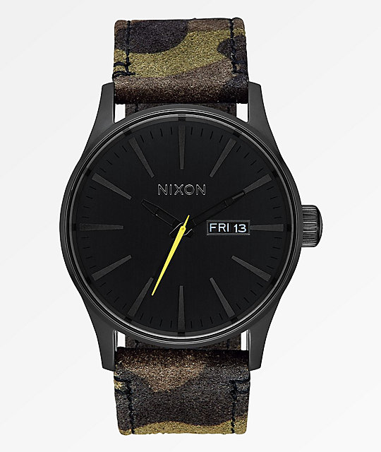 Nixon Sentry Leather Black, Camouflage & Volt Analog Watch