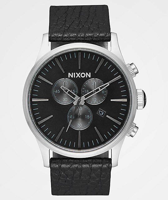 Nixon Sentry Leather Black & Gunmetal Chronograph Watch
