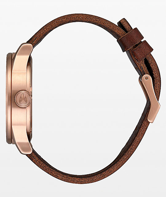 Nixon Sentry Leather Rose Gold, Navy & Brown Analog Watch
