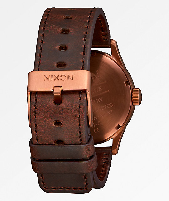 Nixon Sentry Leather Serape Analog Watch