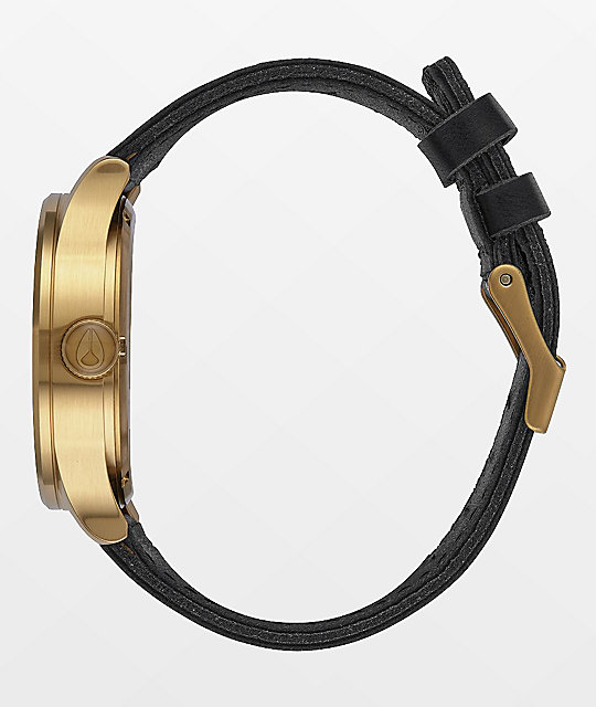 Nixon Sentry Leather reloj analógico en negro y color oro